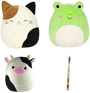 "Squishmallow 5"" Plush Set Of 3, Includes Cameron The Cat, Wendy The Frog, And Connor The Cow. Set Includes A Scented Pencil"