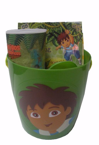 Nickelodeon Go Diego Go Summer Fun Toys Gift Basket- Includes Sand Bucket, Inflatable Swim Toys, And Bubble Whistle