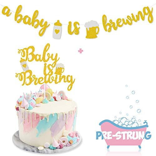 A Baby Is Brewing Baby Shower Banner &Amp; Baby Is Brewing Cake Topper For Gender Reveal Party Decoration Diaper Party Decor Pre-Assembled Baby Brewing Theme Baby Shower Or Baby Sprinkle Kit