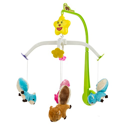 Blue Block Factory Toybab002 Squirrel And Friends Rotatable Hanging Musical Soothing Lullaby Mobile Attachment Toy, One Size, Multicolor