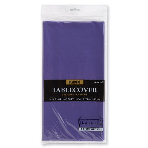 Purple Rectangular Plastic Table Cover - Birthday And Theme Party Supplies