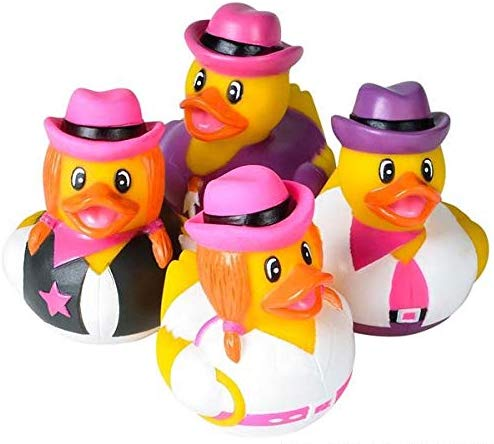 Rhode Island Novelty Cowgirl Rubber Duckies Assorted Colors 24 Pieces