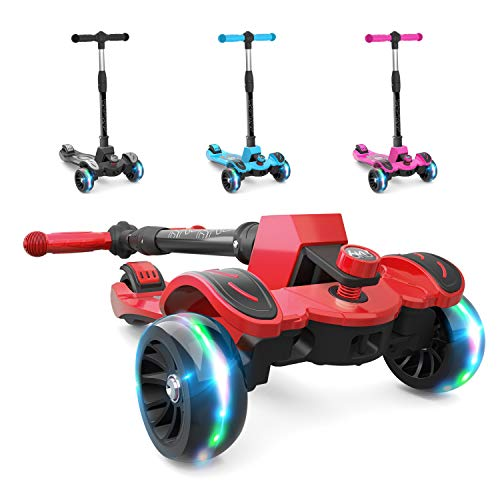 6Ku Kick Scooter For Kids &Amp; Toddlers Girls Or Boys With Adjustable Height, Lean To Steer, Flashing Wheels For Toy Children 3-8 Years Old Red