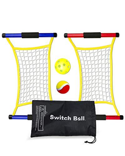 Switch Ball Game Set With 2 Launch Mesh Nets And 2 Balls - Lighweight And Durable Fun Toy For Kids Teens Families - Indoors And Outdoors