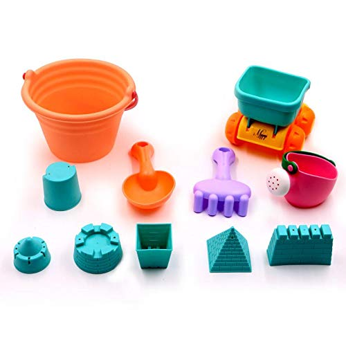Myipyi Beach Sand Toys Set For Kids, Sand Castle Toys For Toddlers, Bucket, Shovel, Rake, Watering Can, Toy Car 11 Pieces