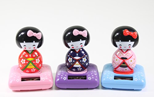 Solar Power Toy - Red-Pink-Purple- Kimono Cute Geisha Japanese Girl Car Home Decor