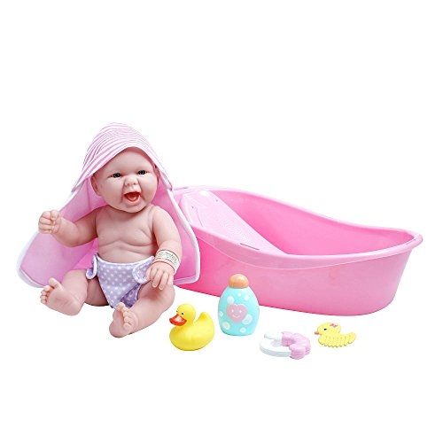 La Newborn 8 Piece Deluxe Bathtub Gift Set, 14 Life-Like Vinyl Smiling Baby Newborn Doll, Pink With A Cute Extra Romper Set!