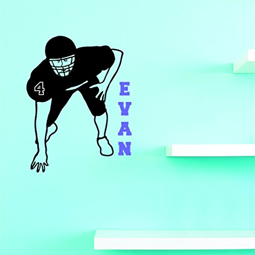 Personalized Custom Name & Number Running Football Player Sports Team Teen Bedroom Kids Sticker Vinyl Wall Decal 20 Inches X 40 Inches