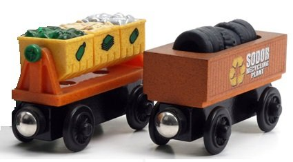 Thomas Wooden Railway Train - Recycling Rubbish Scrap Trash Cars 2Pk - Loose Brand New