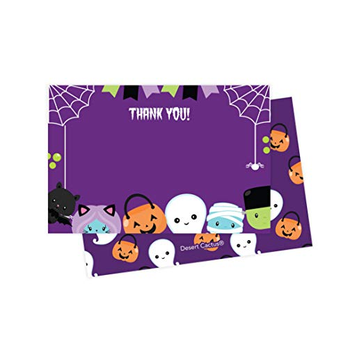 Halloween Thank You Cards (25 Count) With Envelopes &Amp; Seal Stickers Bulk Birthday Party Bridal Blank Graduation Kids Children Boy Girl Baby Shower