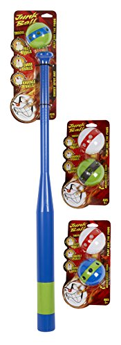 Little Kids, Junk Ball, Learn To Hit And Pitch Like The Pros Neon Classic Plastic Baseball Bat And Ball Set Includes Bonus 4 Extra Original Junk Balls, Blue