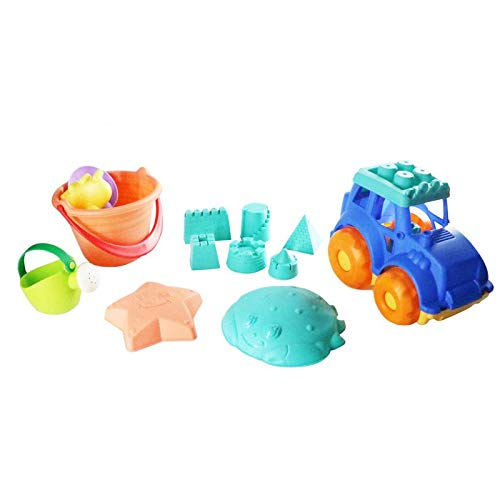 Lozusa Beach Sand Toys Kids Indoor Outdoor Play Set Children Boys Girls 13 Pieces Fun Beach Toys Sand Vehicle Ages 1 Year Up