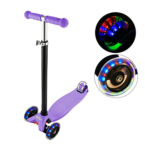 Ancheer Kick Scooter For Kids 3 Wheels, Adjustable Height Kids Scooter Led Light Flashing Pu Wheels, Scooter For Boys And Girls 3-12 Mg (Purple)