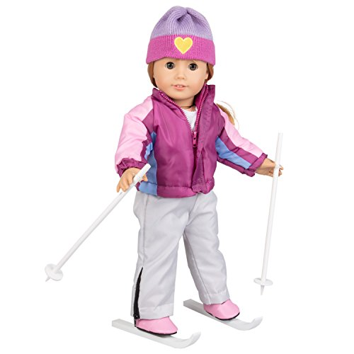Dress Along Dolly Skiing Doll Clothes For American Girl Dolls:  Let'S Go Skiing  Outfit - (Includes Shirt, Hat, Ski Pants, Ski Jacket, Boots, Poles, And Detachable Skis)