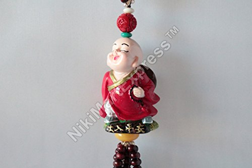 Super Cute Little Monk Nature Stone Beads Wall Door Car Hanging Charm Safe Trip Feng Shui Protection Red