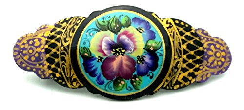 Russian Hair Clip Hand Painted Barrette Gold Black With Flowers Zhostovo Style Only One Like This