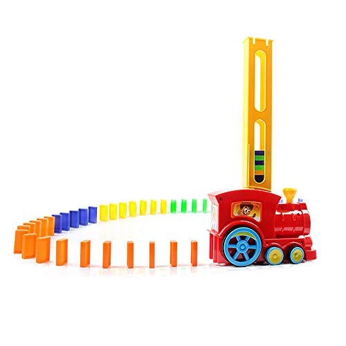 Tita-Dong Domino Train Toy Set , Rally Electric Train Model With Light And Sound , 60Pcs Colorful Domino Game Building Blocks Car Truck Vehicle Stacking Toy For Children Kids Boys Girls