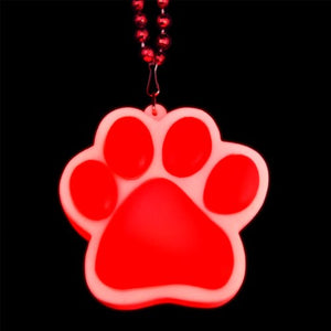 Light Up Red Paw Print Charm Necklace (Set Of 12)
