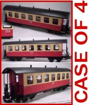 Newqida Toys Factory Hsb Harz Mountain Rail Way Red 2 Tone Passenger Car Case Of 4 G Scale