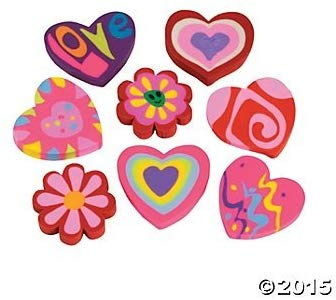 24 Rubber Valentine Heart Shaped Eraser~Teacher Supplies~Favors
