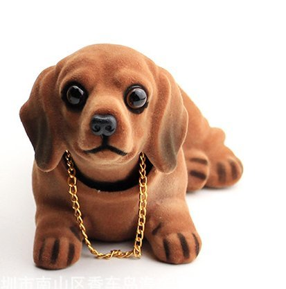 Handmade Car Ornaments Childhood Memory Bobblehead Dogs Mascot Rocking Head While Disturbance,Made By Natura Resin 8.5 Ounce Large Durable With Video(Dachshund)