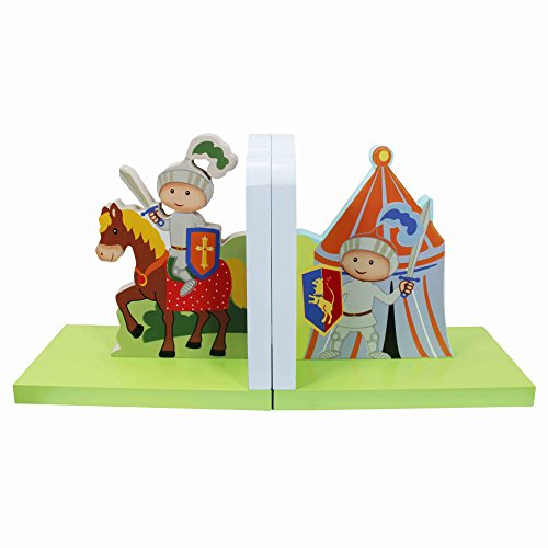Fantasy Fields - Knights &Amp; Dragon Thematic Set Of 2 Wooden Bookends For Kids | Imagination Inspiring Hand Crafted &Amp; Hand Painted Details   Non-Toxic, Lead Free Water-Based Paint