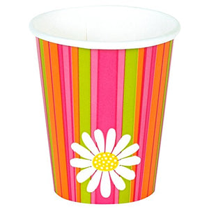 Floral 'Daisy Stripes' 9Oz Paper Cups (8Ct)