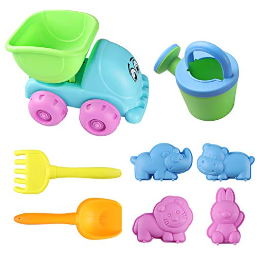 Dx Da Xin Sand Beach Toys For Kids, Toddler Outdoor Pool Bath Play Set Plastic Sandbox Toys With Sand Toys Trucks, Buckets, Shovels, Molds And Rakes For Boys Girls (8Pcs)