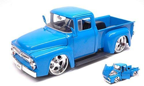 Jada 99044 1956 Ford F-100 Pickup Truck Blue Just Trucks 1/24 Diecast Model Car