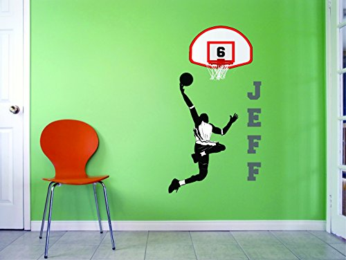 Personalized Custom Name & Number Basketball Slam Dunk Backboard Sports Player Girl Boy Kids Vinyl Wall Decal Sticker 10 Inches X 20 Inches