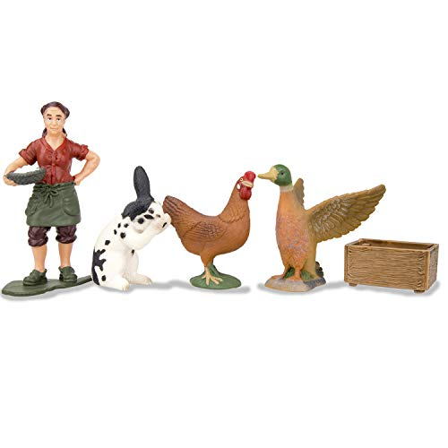 Toymany Solid Farm Animal Figures Playset With A Farmer, Plastic Farm Animals Toy Set With A Rabbit Hen Duck Breeder &Amp; Feed Box, Birthday Gift For Toddlers Kids Children