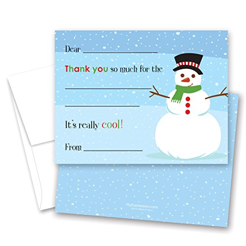 Myexpression.Com 20 Jolly Snowman Fill-In Thank Yous And Envelopes
