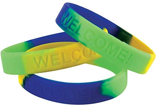 Really Good Stuff Welcome! Silicone Bracelets Set - Set Of 24