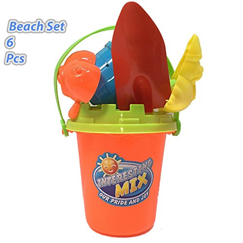 Beach Toy Set, Summer Beach Fun Activity, Castle Bucket, 6 Piece Set, By 4Es Novelty,
