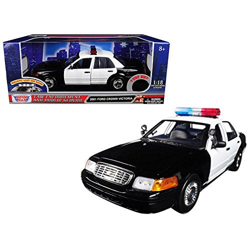 Motormax 73991 2001 Ford Crown Victoria Police Car Plain White With Flashing Light Bar, Front And Rear Lights And Sounds 1/18 Diecast Model Car