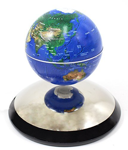 Powertrc Geographic Revolving And Levitating Globe, 4 , Blue Ocean