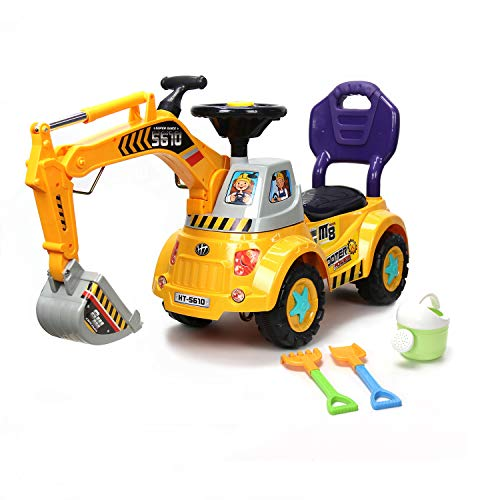 Wonderplay Digger Scooter, Ride-On Excavator, Pulling Cart, Pretend Play Construction Truck For Boys And Girls (Yellow)