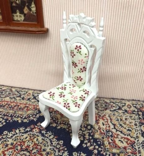 Eatingbitingr 1:12 Royal Palace Design Dollhouse Miniature Doll Chair Furniture Elegant White Wooden Highback Chair , 1/12 Dollhouse Miniature Vintage Flower Cloth Material With Wood Chair