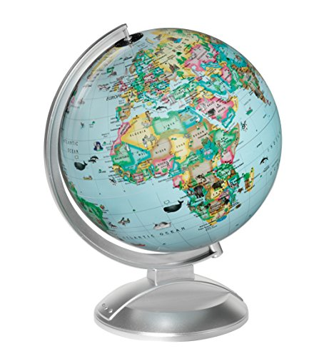 Replogle 10Inch Illuminated Blue Globe 4 Kids With Two Way Map, Made In Usa