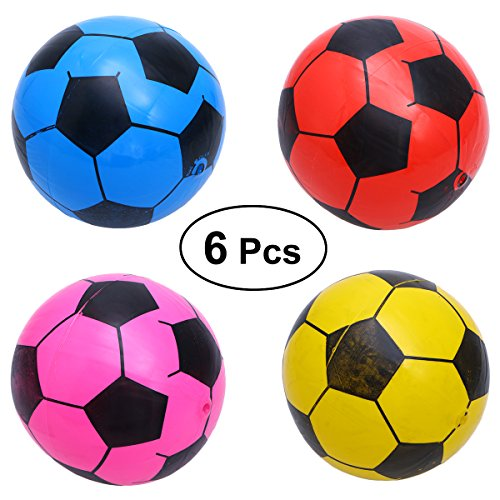 Toymytoy 6Pcs Inflatable Soccer Ball Plastic Football Kids Sport Balls Toy Random Color