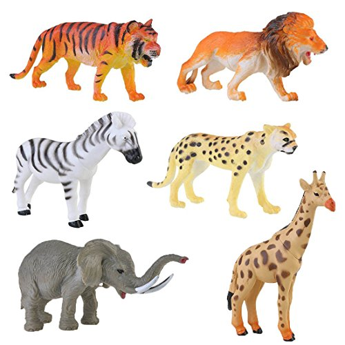 Lchen Animals Figure, 4  Zoo Safari Plastic Model Tiger Leopard Lion Giraffe Zebra Elephant Toy