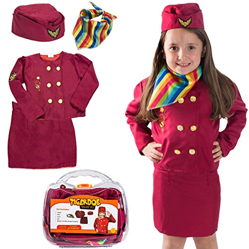 Tigerdoe Pilot Costume For Kids - Stewardess Costumes - Flight Attendant Costume - Kids Dress Up With Storage Case - Pretend Play - Role Play