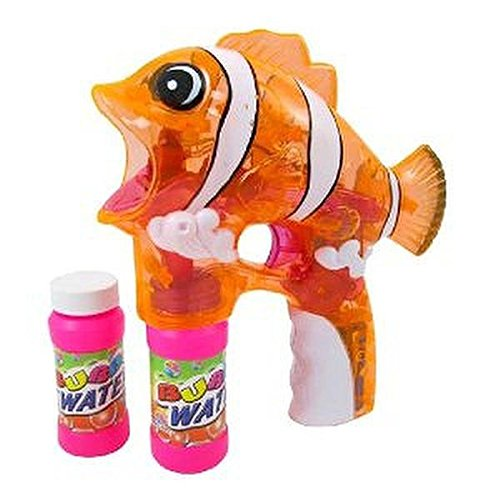 Lilpals Fely The Fish Bubble Gun Shooter - Blaster With Light, Sound & Bubble Solution Included, For Kids 3 Years And Up (Clear Orange)