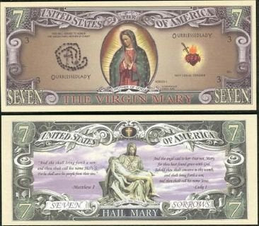 Virgin Mary Mother Of God Collectible Bill - Set Of 5