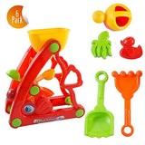 Beach Toy Set For Kids - Set Of 6 - Sand Wheel Shovel Rake Molds Watering Can - With Mesh Bag