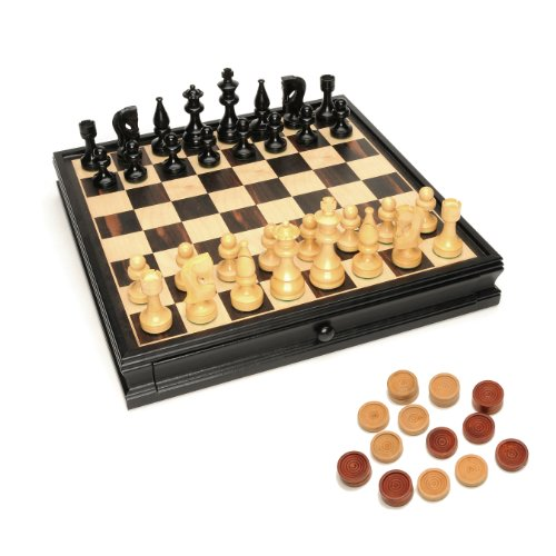 We Games Russian Style Chess &Amp; Checkers Game Set - Weighted Chessmen &Amp; Black Stained Wood Board With Storage Drawers 15 In.
