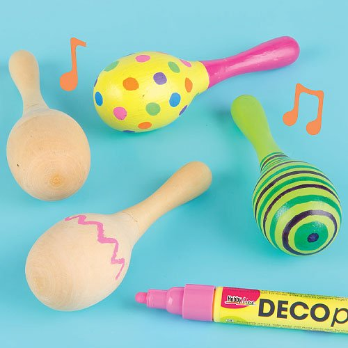 Baker Ross Real Wood Maracas | 4.3 Inches (11Cm) | For Children To Paint &Amp; Decorate