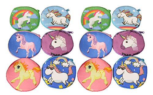Obi Unicorn Coin Purses Lot Of 12 Girls Birthday Party Favors Fantasy Zipper Pouch Keychain