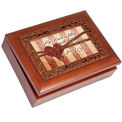 My Heart Cottage Garden Rich Woodgrain Finish With Ornate Inlay Jewelry Music Box - Plays Song Unchained Melody