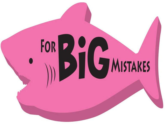 Rockin Gear Eraser Pencil Eraser Jumbo Shark 'For Big Mistakes' (Pink)